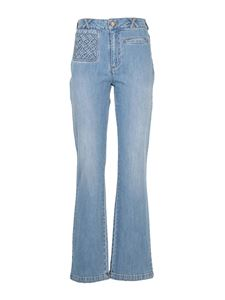 See by Chloé - Faded denim flared jeans in light blue