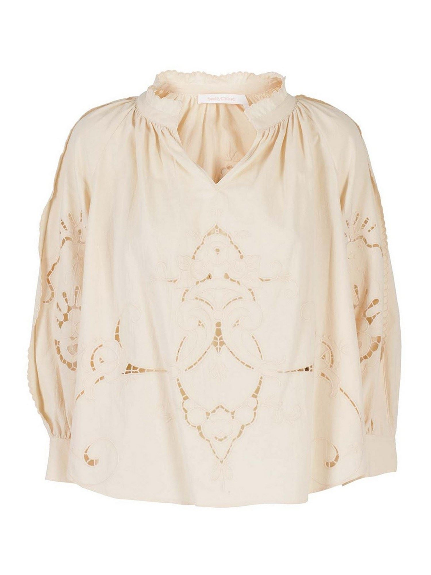 See By Chloé LINEN BLOUSE IN CREAM COLOR