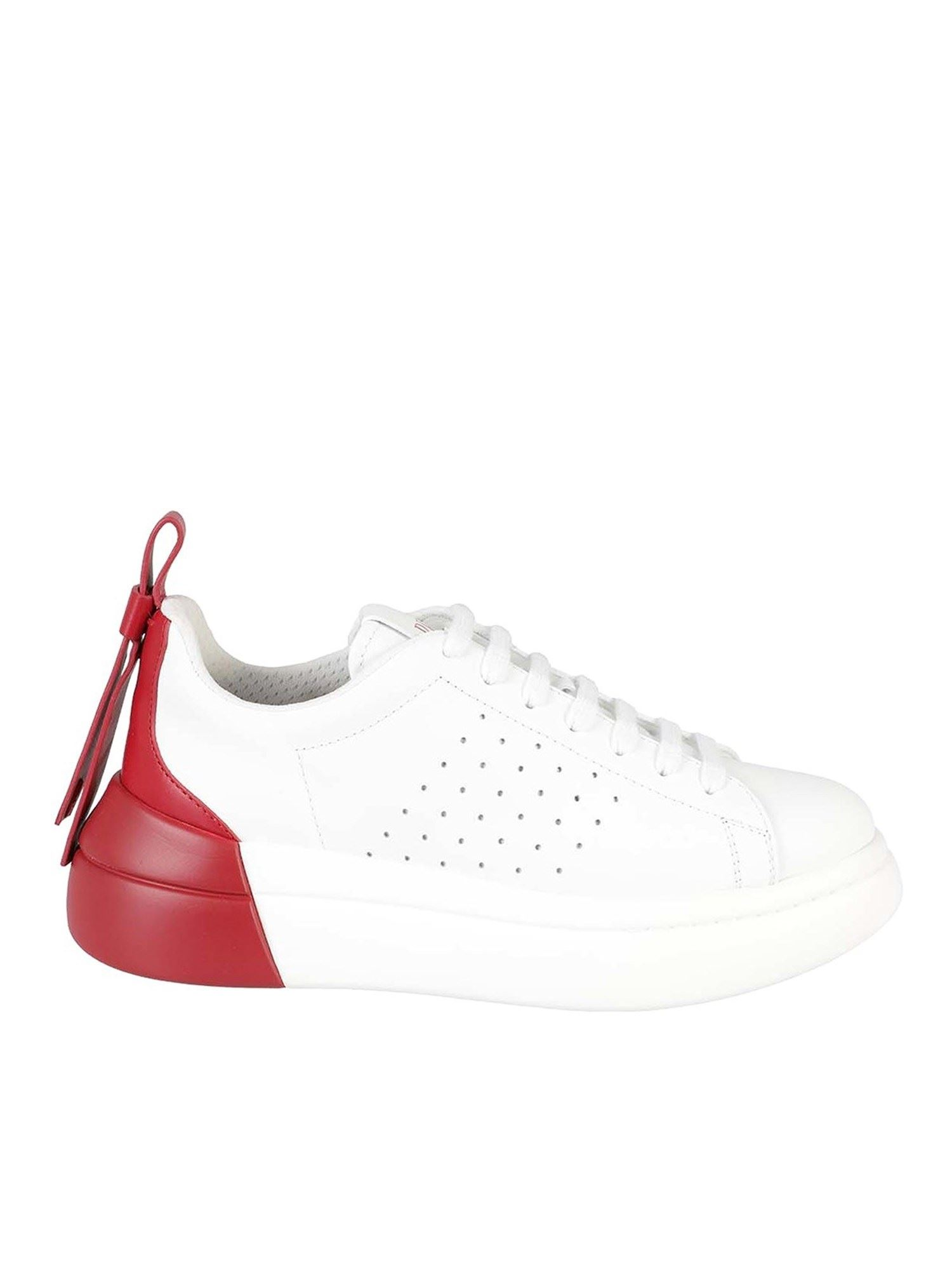 Red Valentino TWO-TONE LEATHER SNEAKERS IN WHITE AND RED