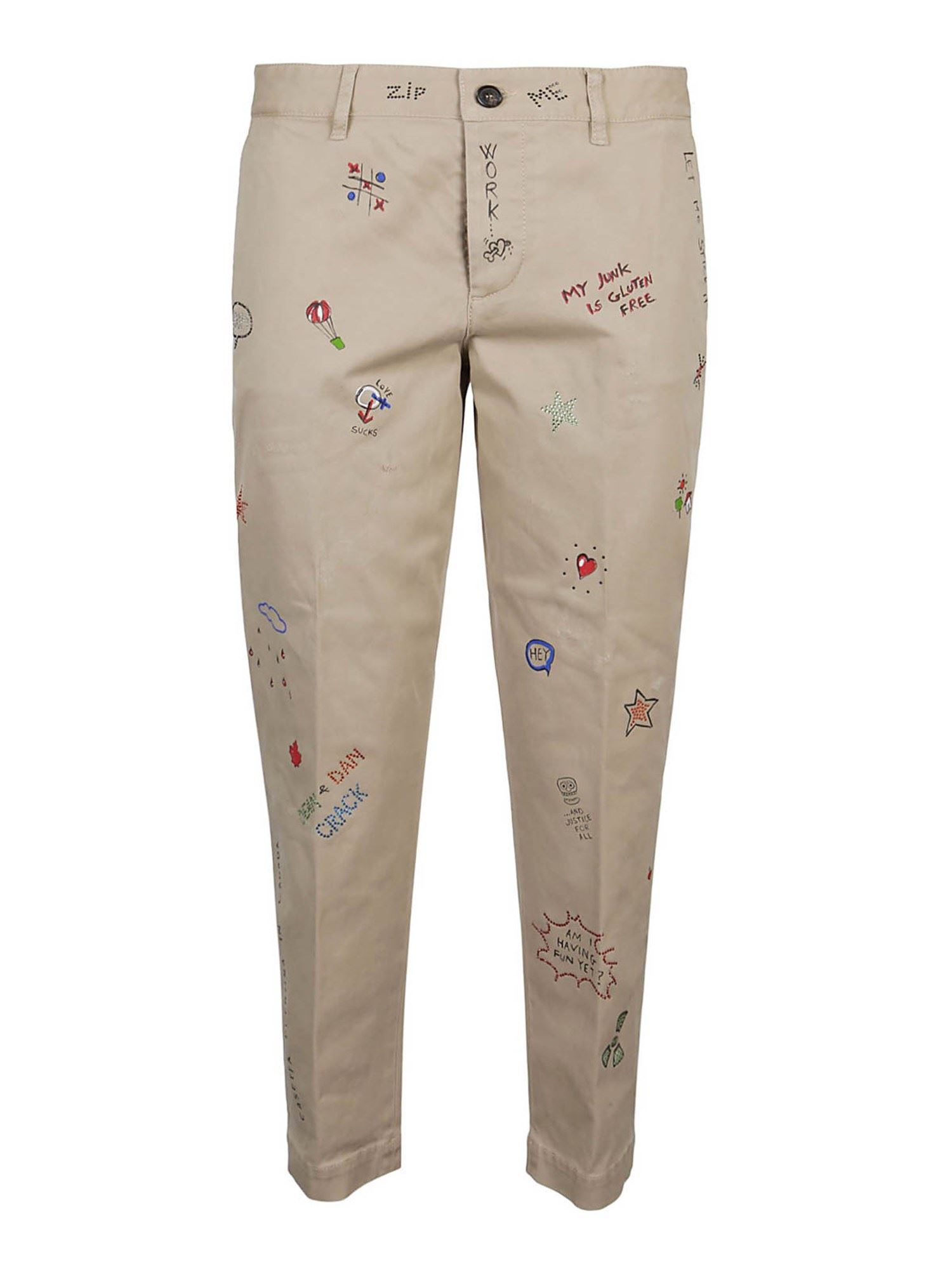 Dsquared2 LOGO PRINTED PANTS IN BEIGE