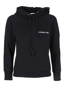 Helmut Lang - Cotton hoodie with logo in black