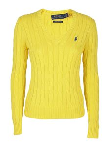 POLO Ralph Lauren - Pima cotton V-neck jumper in yellow