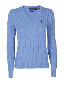 POLO Ralph Lauren - Pima cotton V-neck jumper in light blue