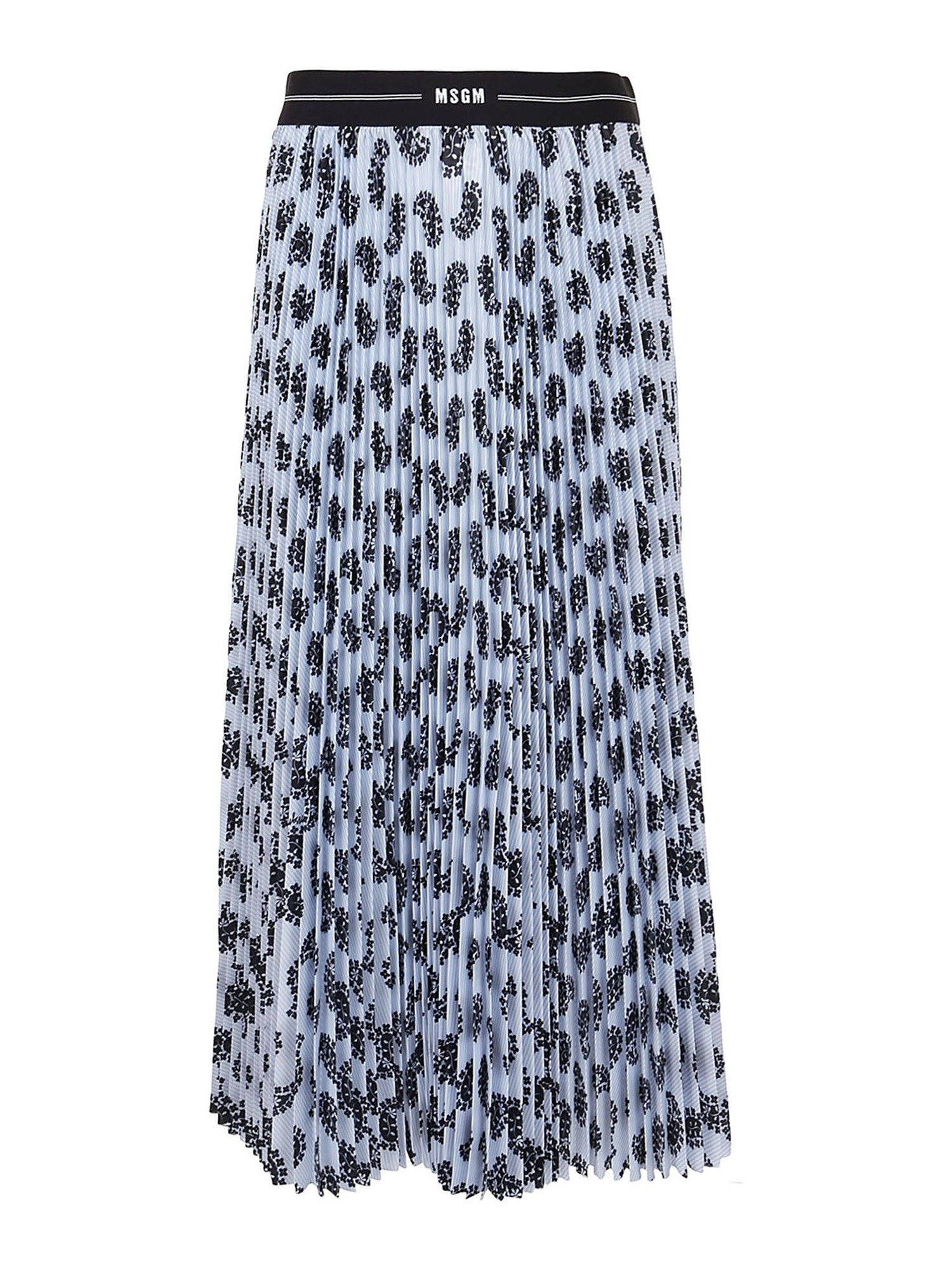MSGM TWILL PLEATED SKIRT IN LIGHT BLUE