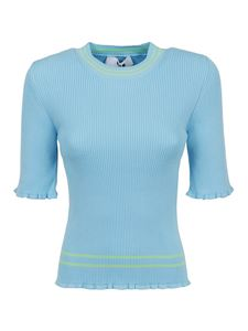MSGM - Ribbed crewneck top in light blue