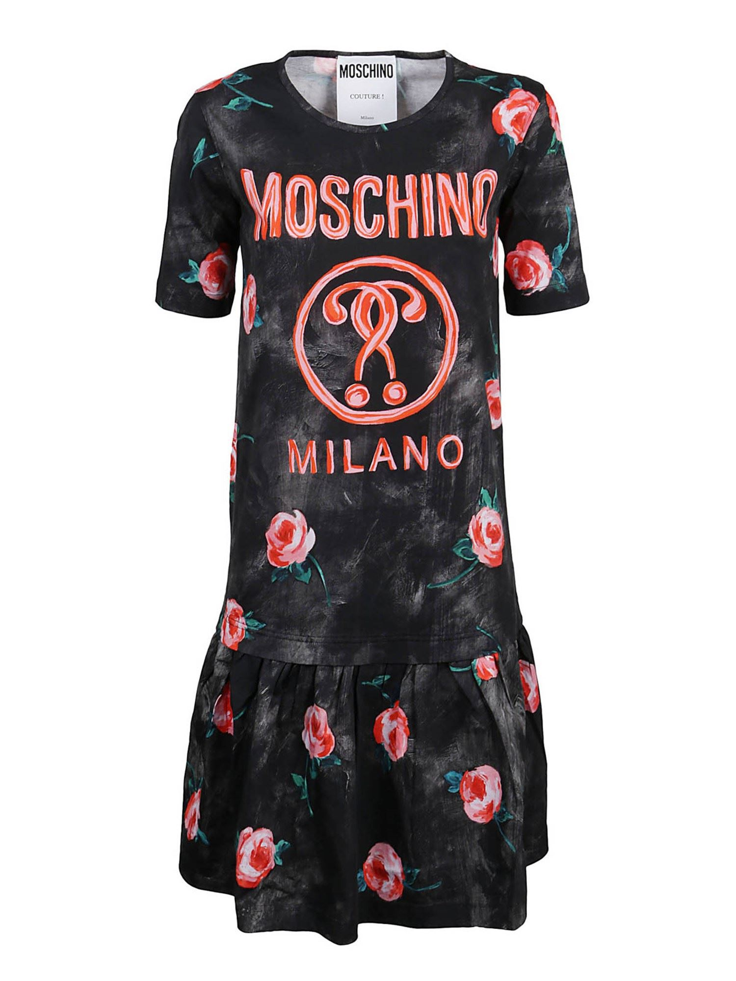 Moschino FLORAL PRINTED DRESS IN BLACK