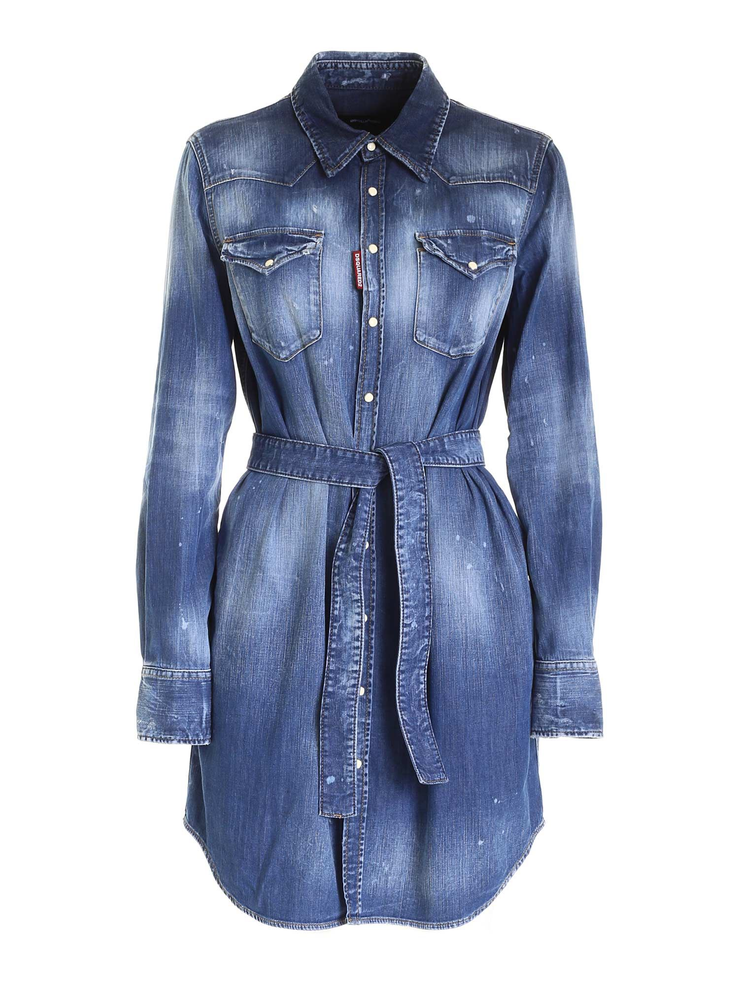 Dsquared2 BOYFRIEND SHIRT IN BLUE