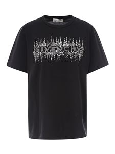 Givenchy - T-shirt nera con logo in strass