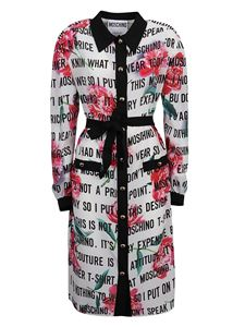 Moschino - Floral and logo printed silk dress in white