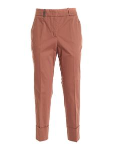Peserico - Leather detail pants in brown