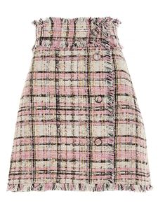 MSGM - Checked tweed mini skirt in pink