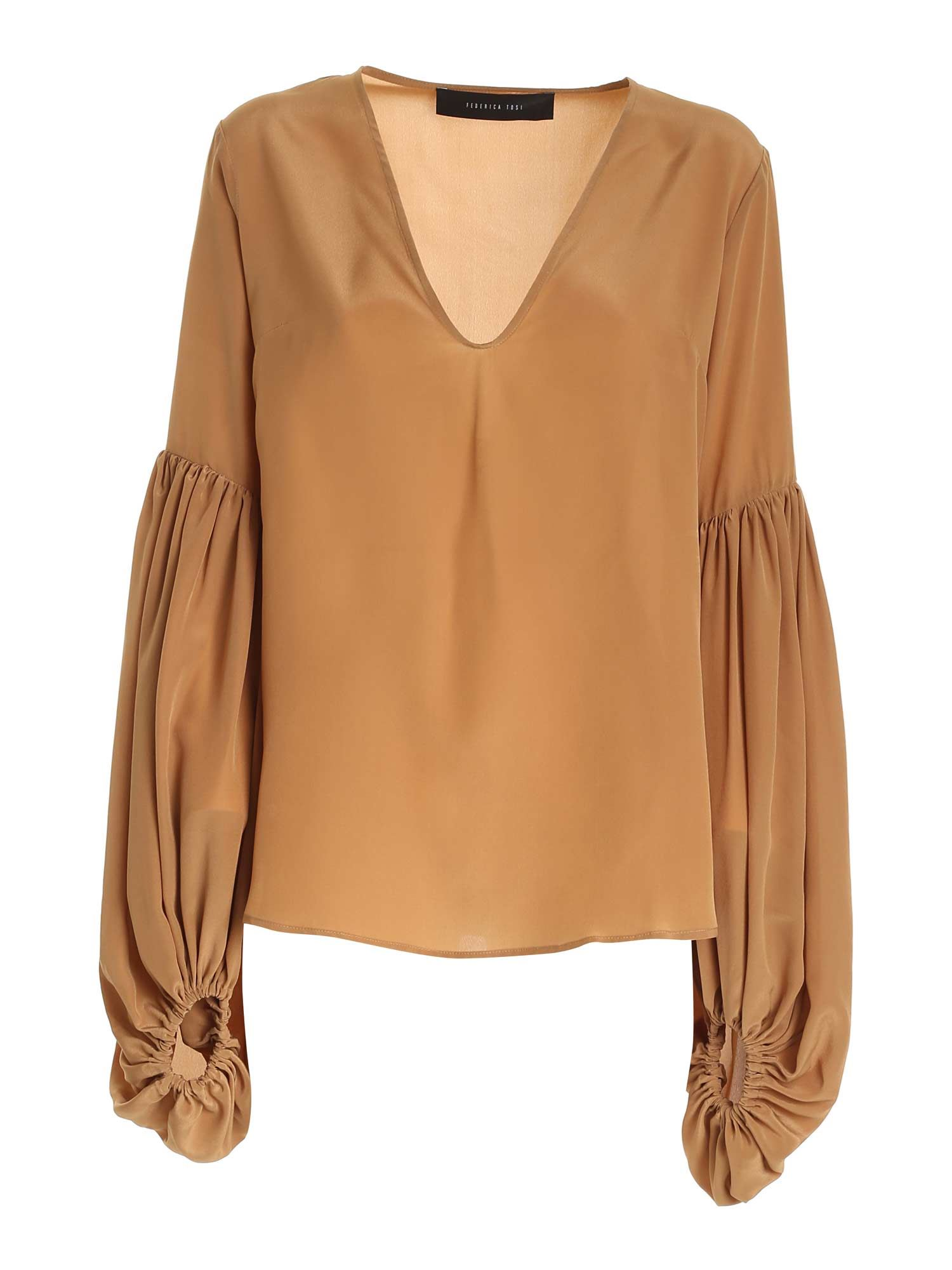 Federica Tosi ROUCHES SHIRT IN CAMEL COLOR