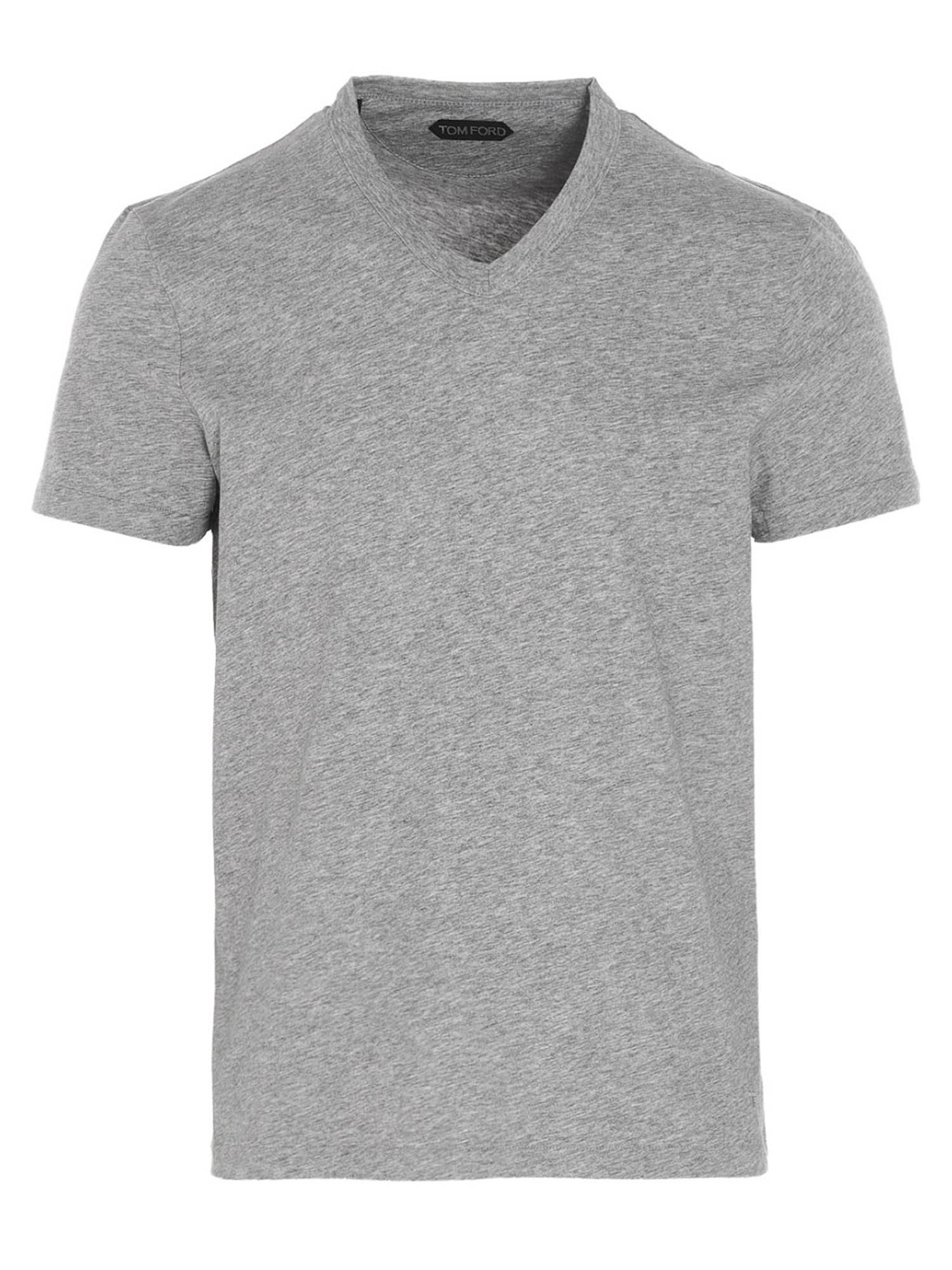 Tom Ford Cottons V-NECK T-SHIRT IN GRAY