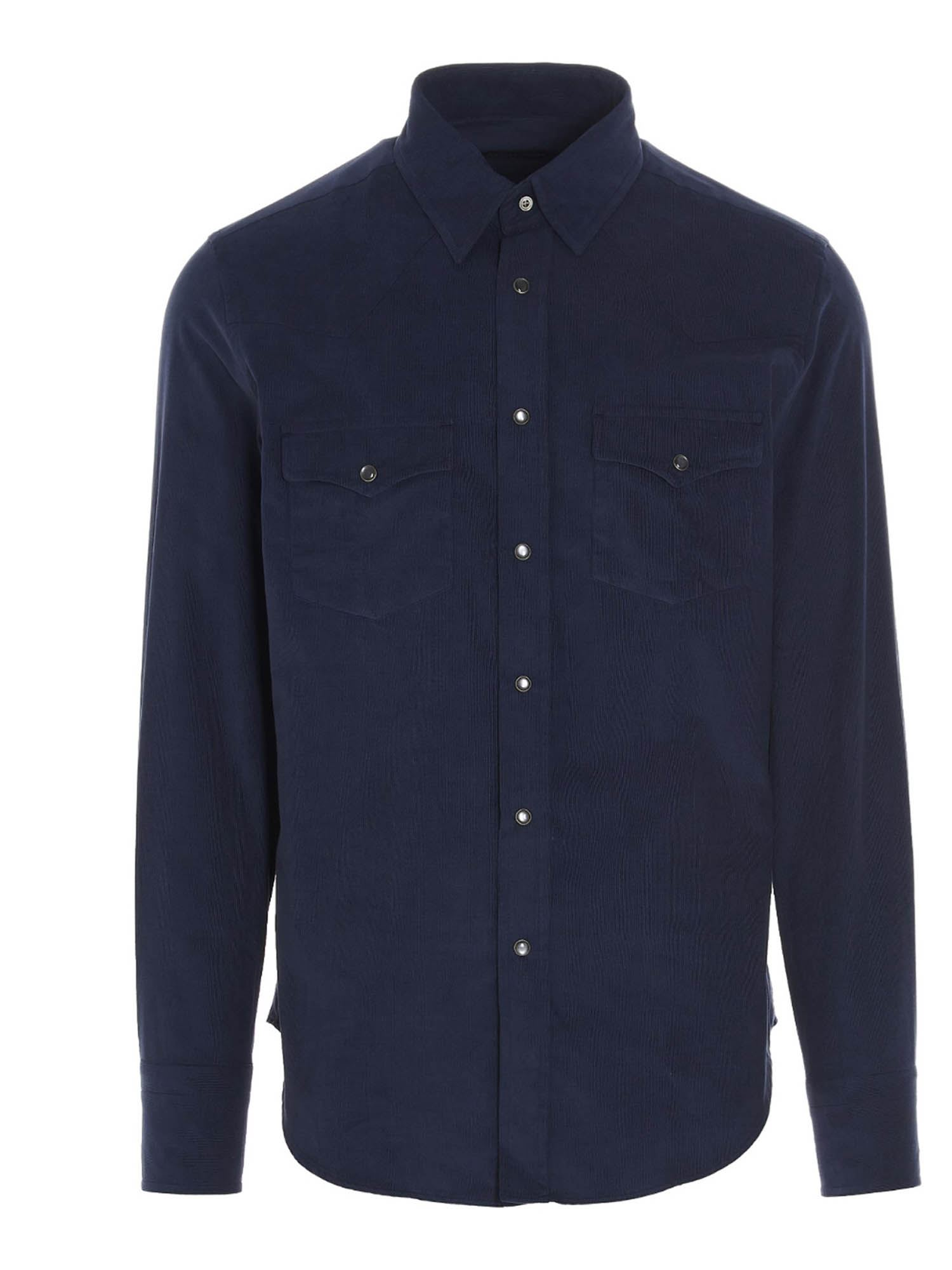 Tom Ford Cottons CORDUROY SHIRT IN BLUE