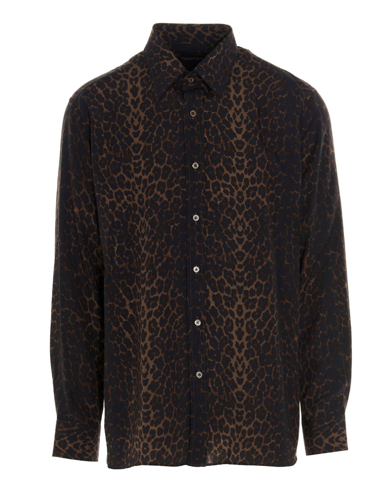 Tom Ford Shirts ANIMALIER PRINTED SHIRT IN BROWN
