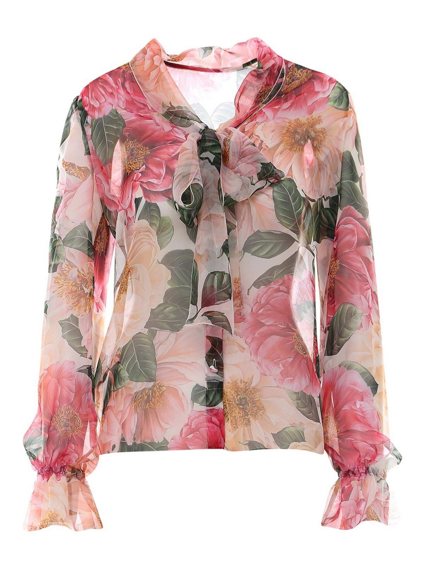 Dolce & Gabbana CAMELLIAS PRINTED SHIRT IN PINK