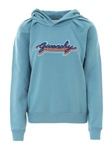 Givenchy - Embroidered logo hoodie in light blue