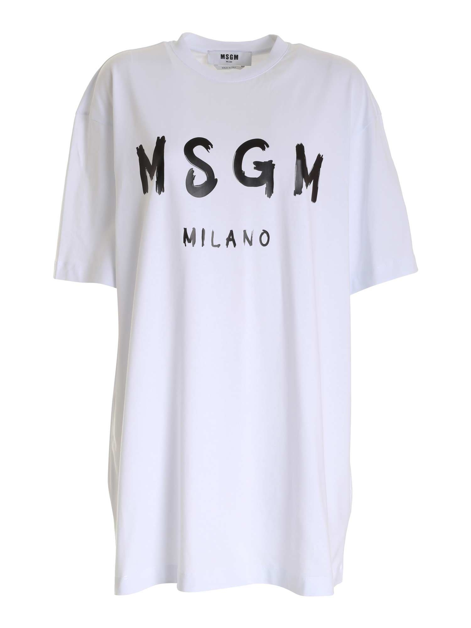 Msgm LOGO DRESS IN WHITE