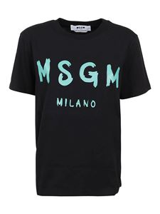 MSGM - T-shirt con logo lettering in jersey nera
