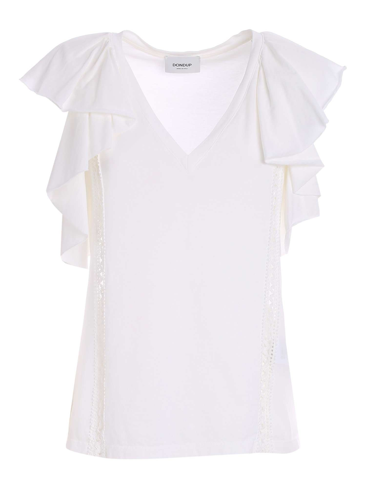 Dondup RUFFLES AND EMBROIDERY TOP IN WHITE