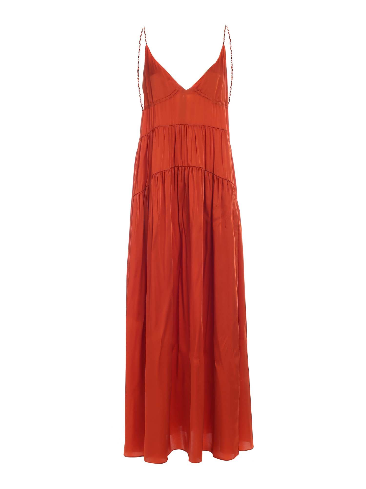 Dondup JEWELED STRAPS DRESS IN RUST COLOR