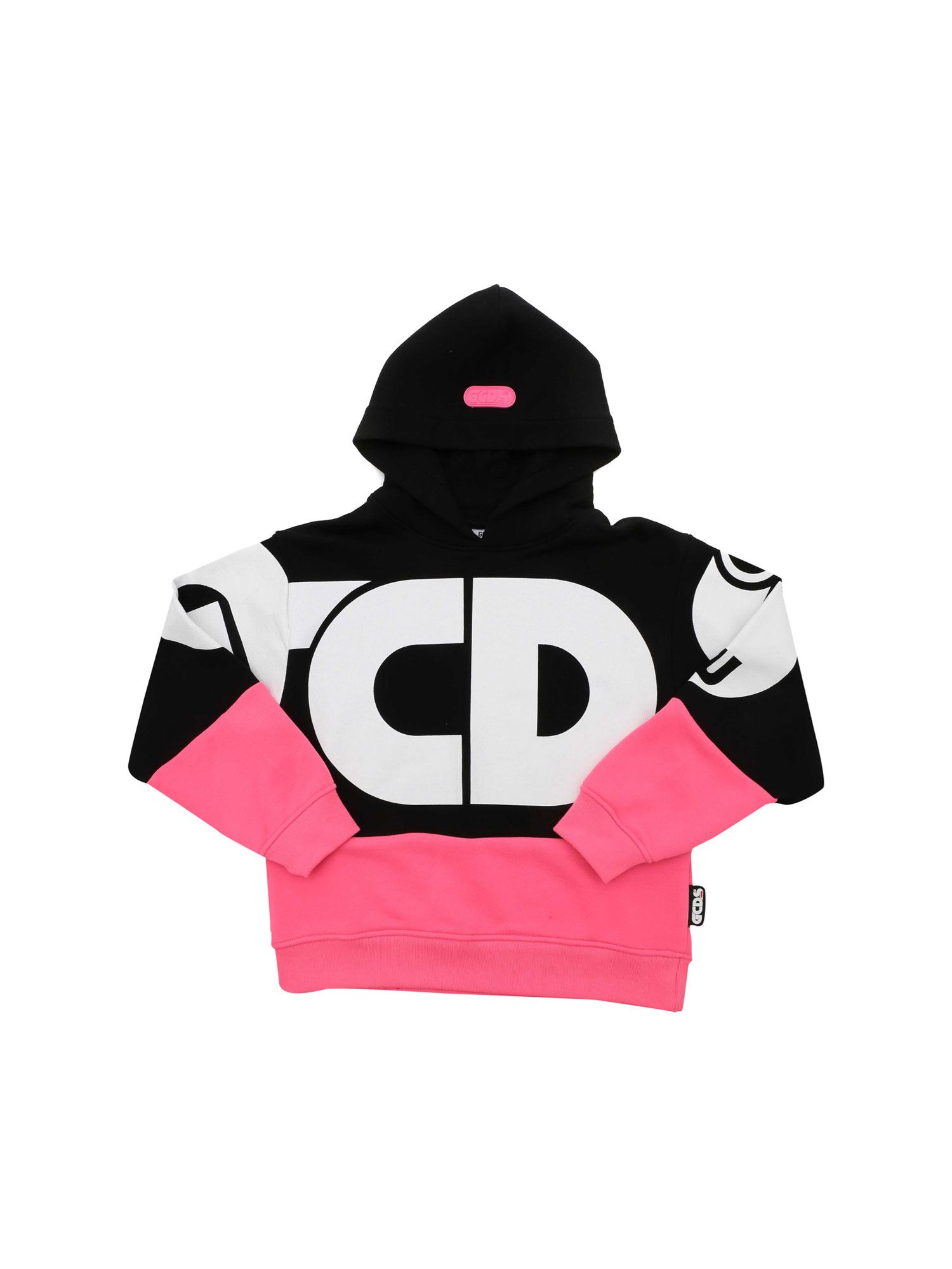 Gcds MAXI LOGO PRINT SWEATSHIRT IN BLACK AND FUCHSIA