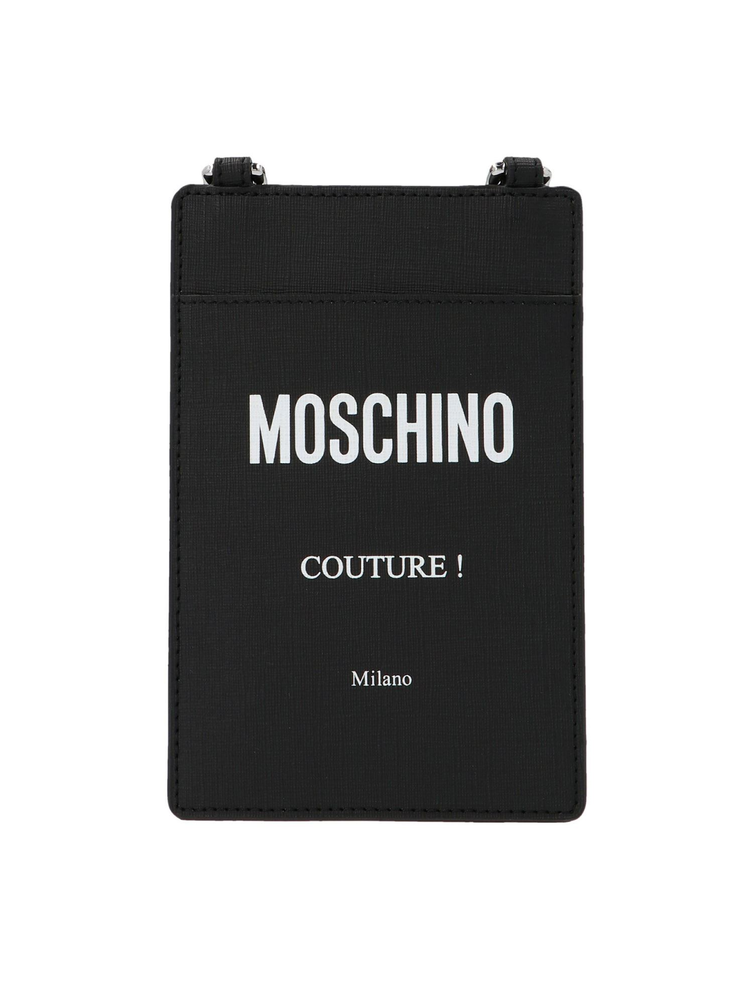 Moschino Cardholders SHOULDER STRAP COUTURE CARD HOLDER IN BLACK