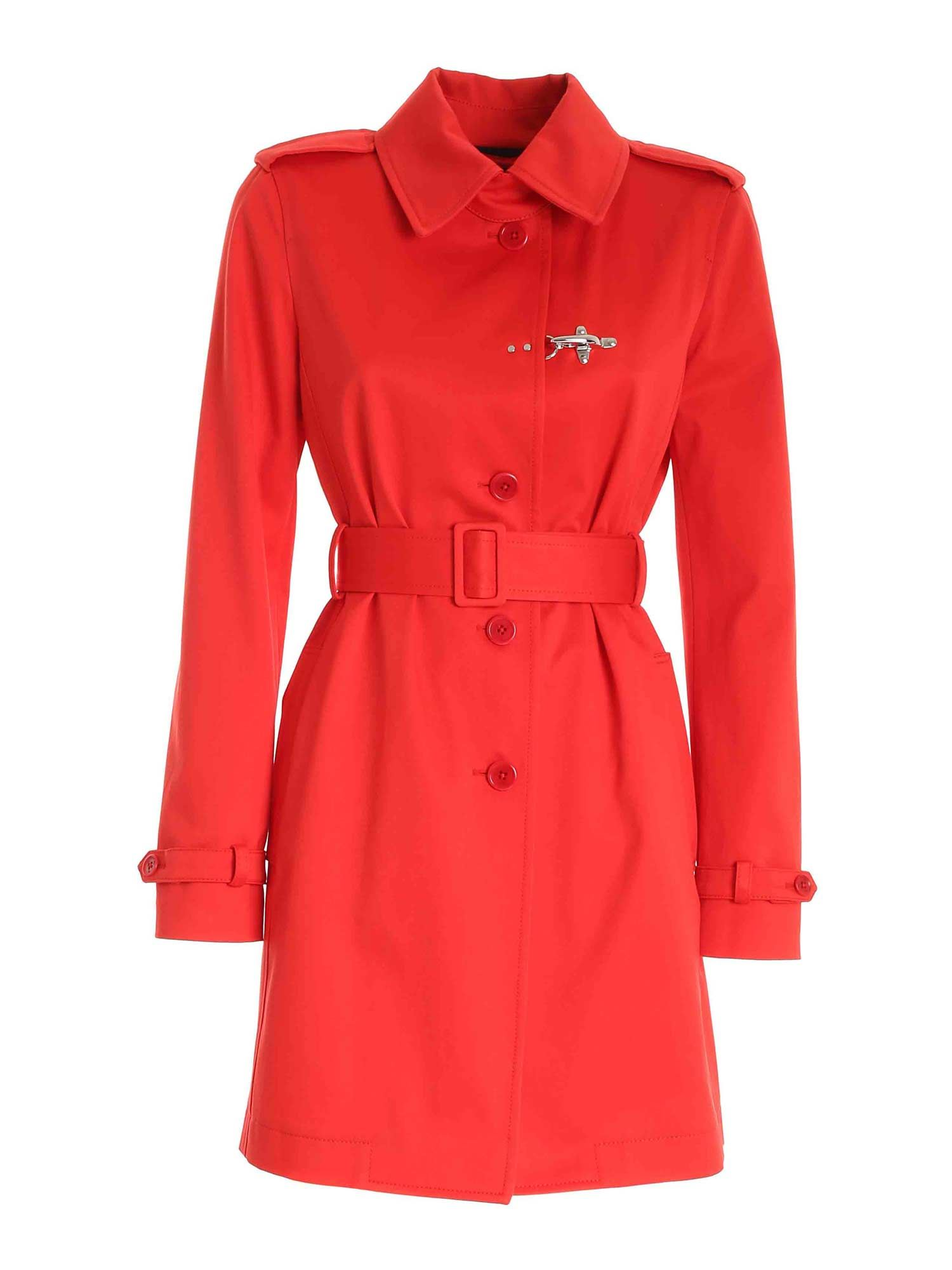 Fay HOOK TRENCH COAT IN RED