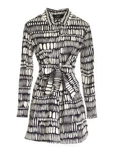 Clips - Printed shirt dress in black and white