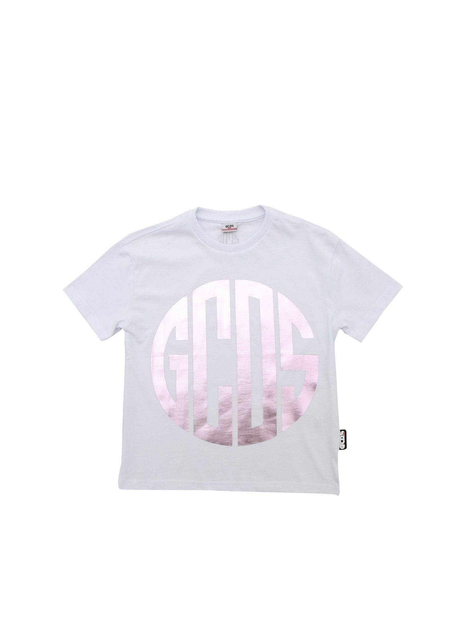 Gcds LAMINATED LOGO T-SHIRT IN WHITE
