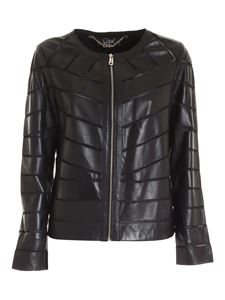 Clips - Nude details leather jacket in black