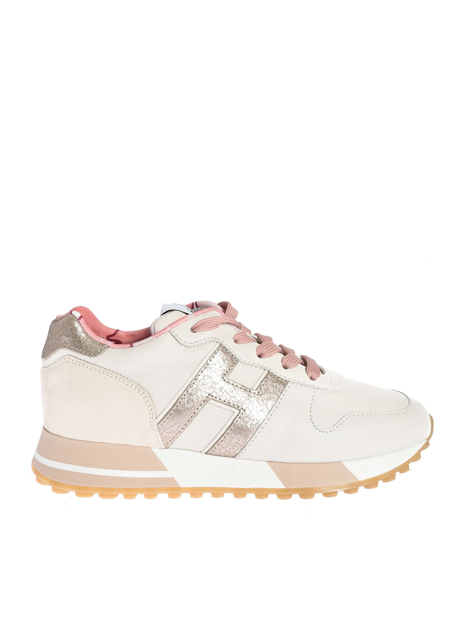 Hogan Leathers H383 SNEAKERS IN CREAM AND PINK