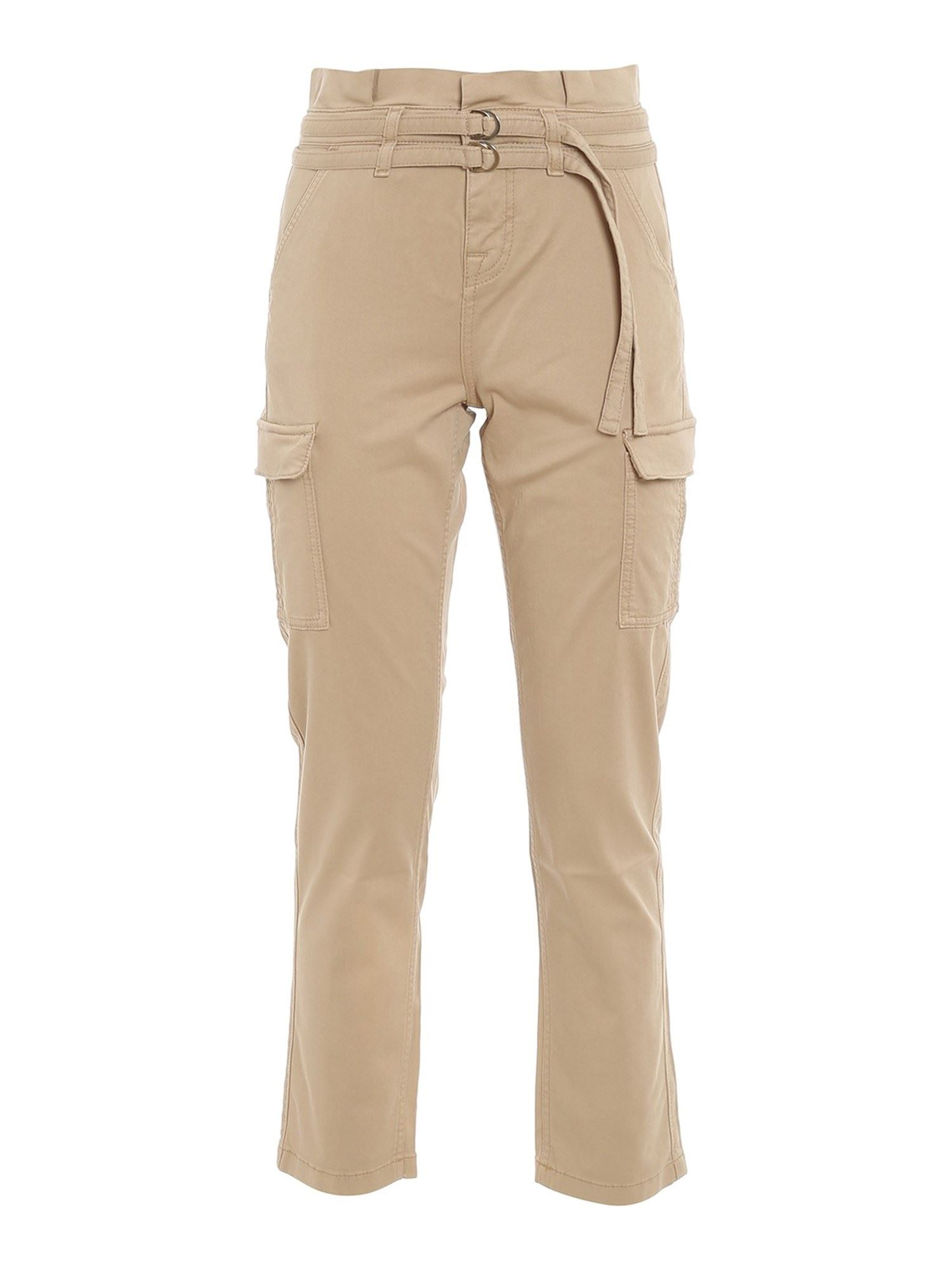 7 For All Mankind Cottons PAPERBAG CARGO TROUSERS IN BEIGE