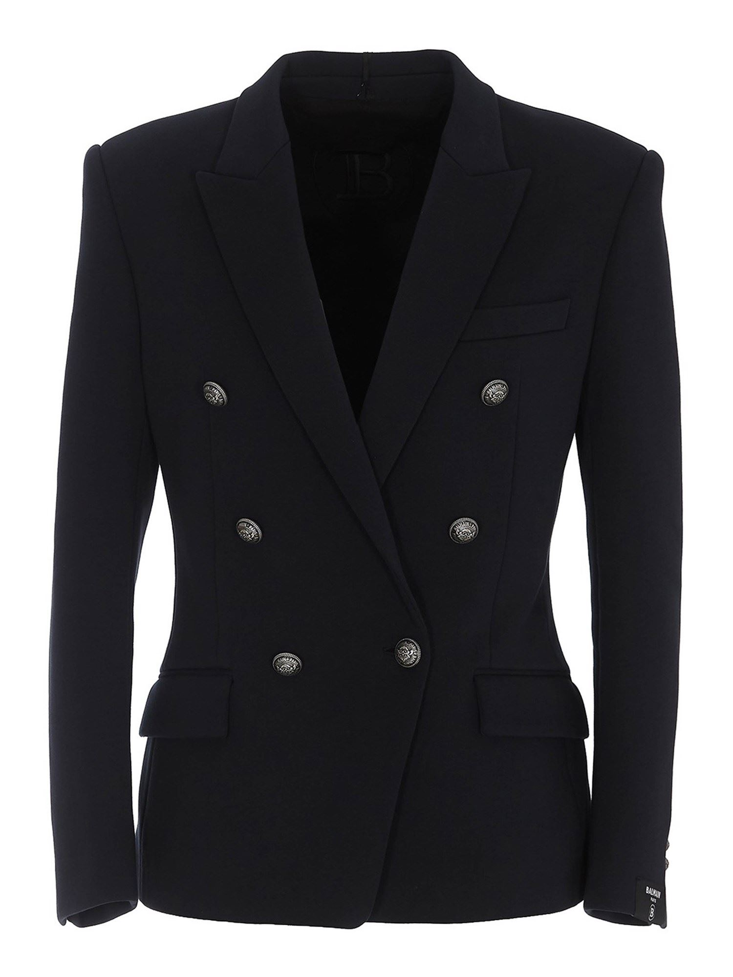 Balmain COTTON DOUBLE BREASTED BLAZER IN BLUE