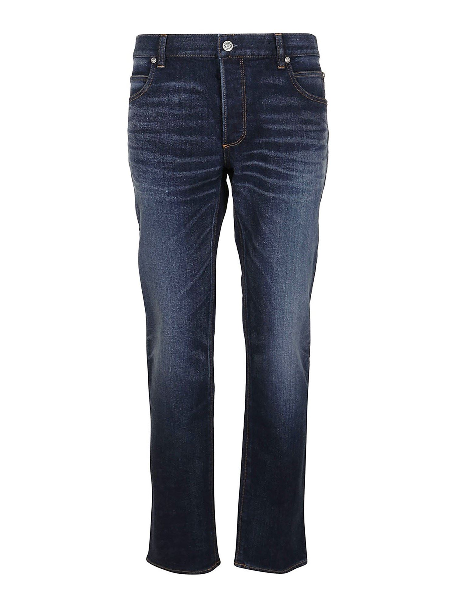 BALMAIN B EMBROIDERY JEANS IN BLUE