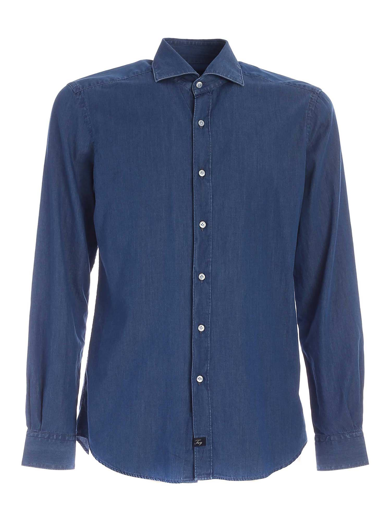 Fay Cottons LOGO LABEL SHIRT IN BLUE