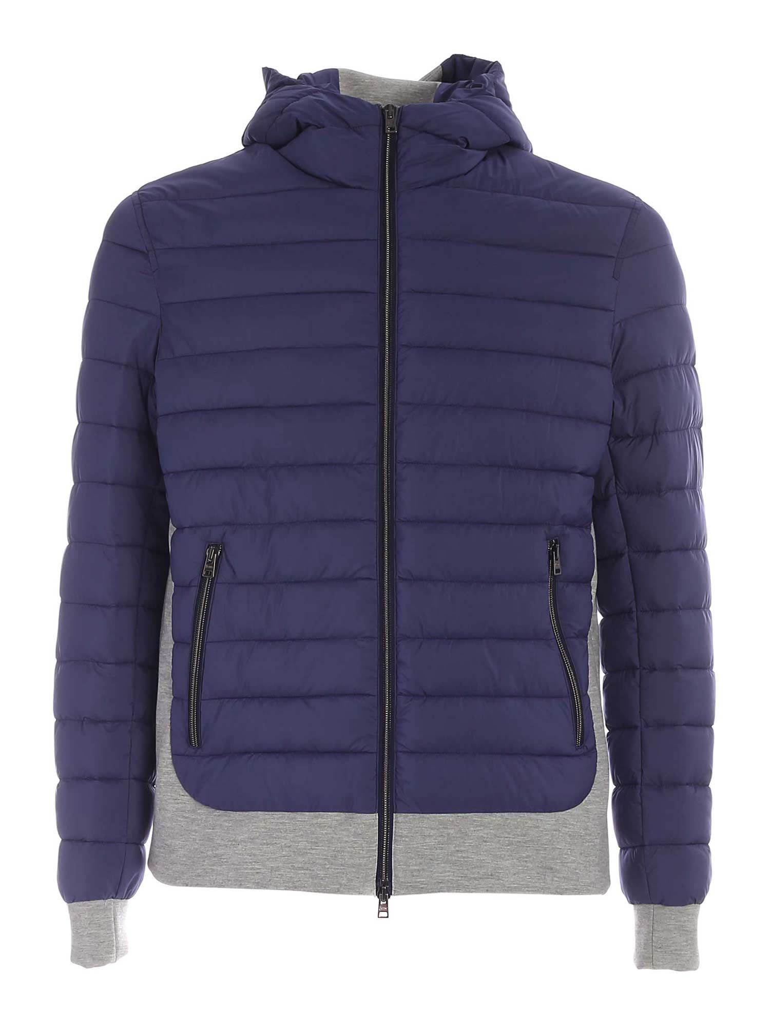 Herno Downs GREY DETAILS PUFFER JACKET IN BLUE