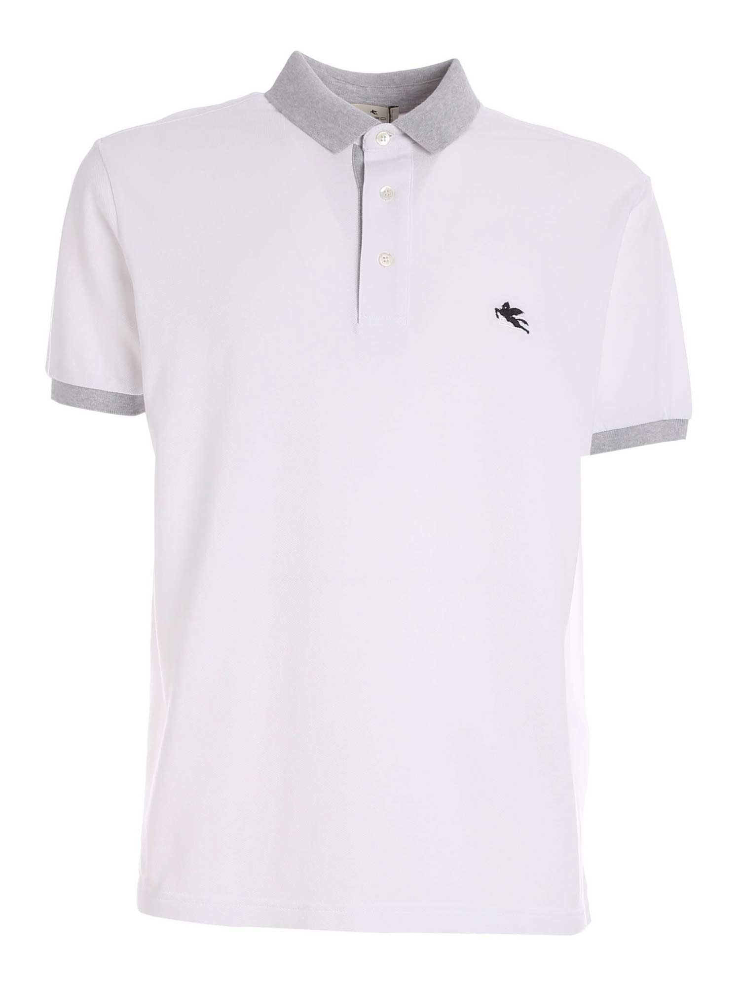 Etro Cottons CONTRASTING LOGO POLO SHIRT IN WHITE