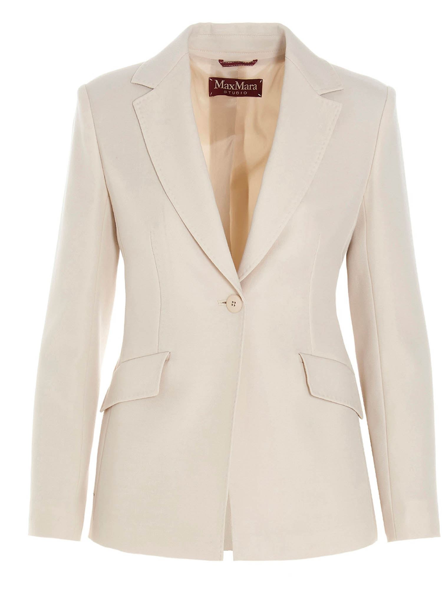 Max Mara SINGLE-BREASTED SCIRE BLAZER IN VANILLA