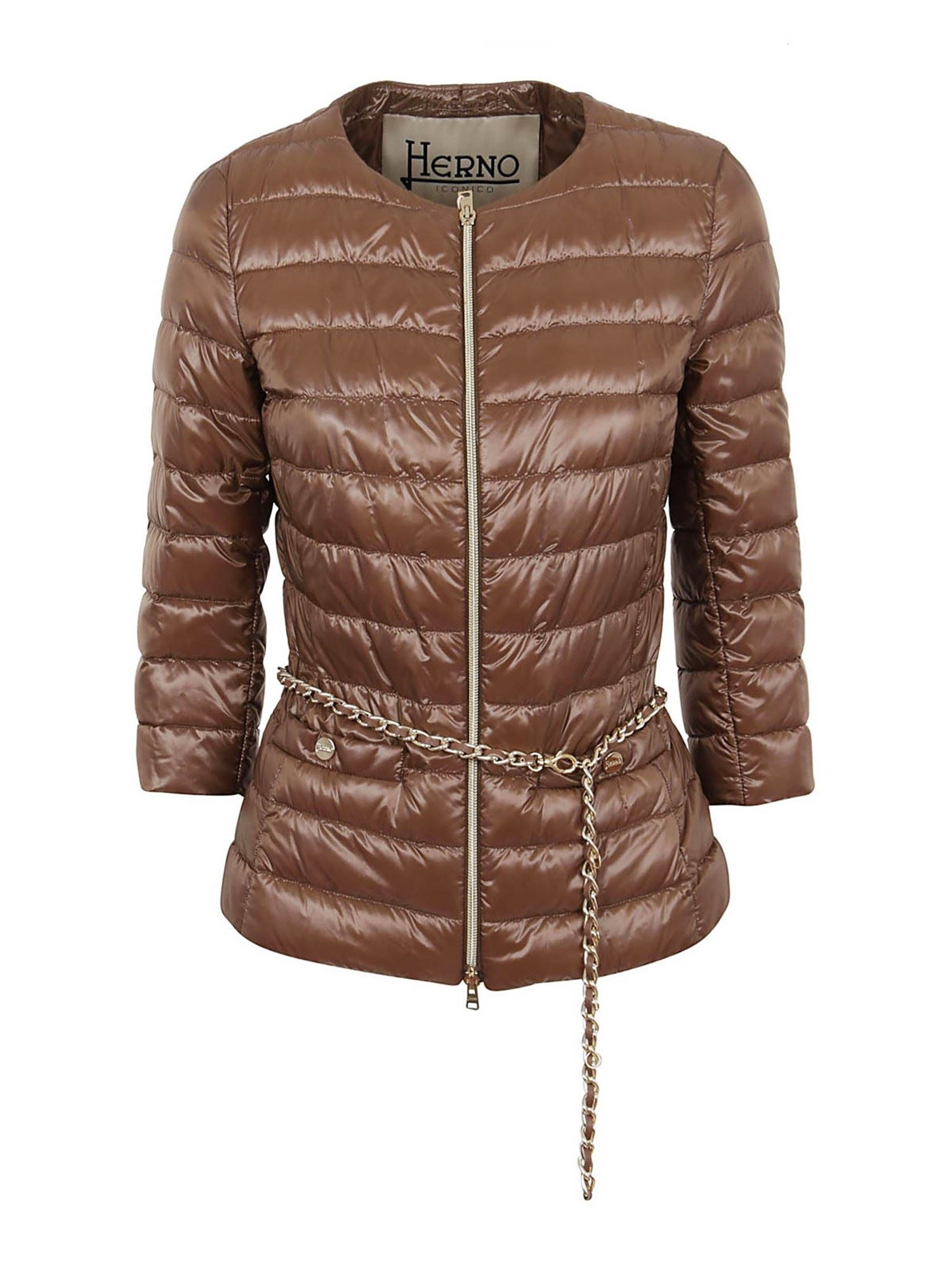 Herno CHAIN BELT PADDED JACKET IN BROWN