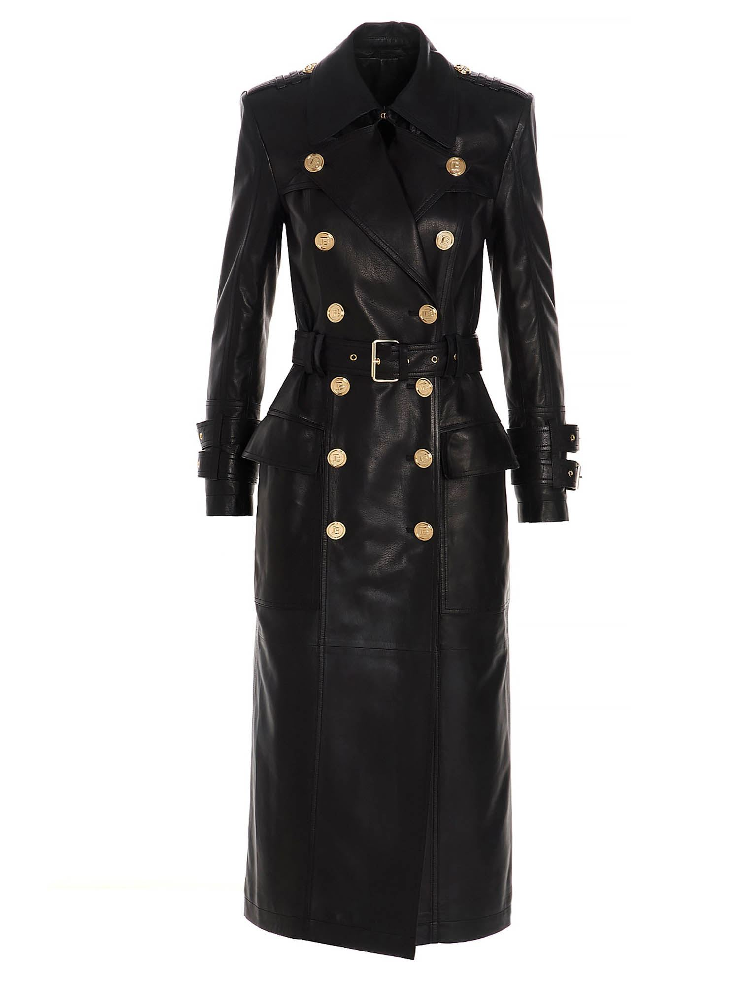 Balmain LEATHER TRENCH COAT IN BLACK