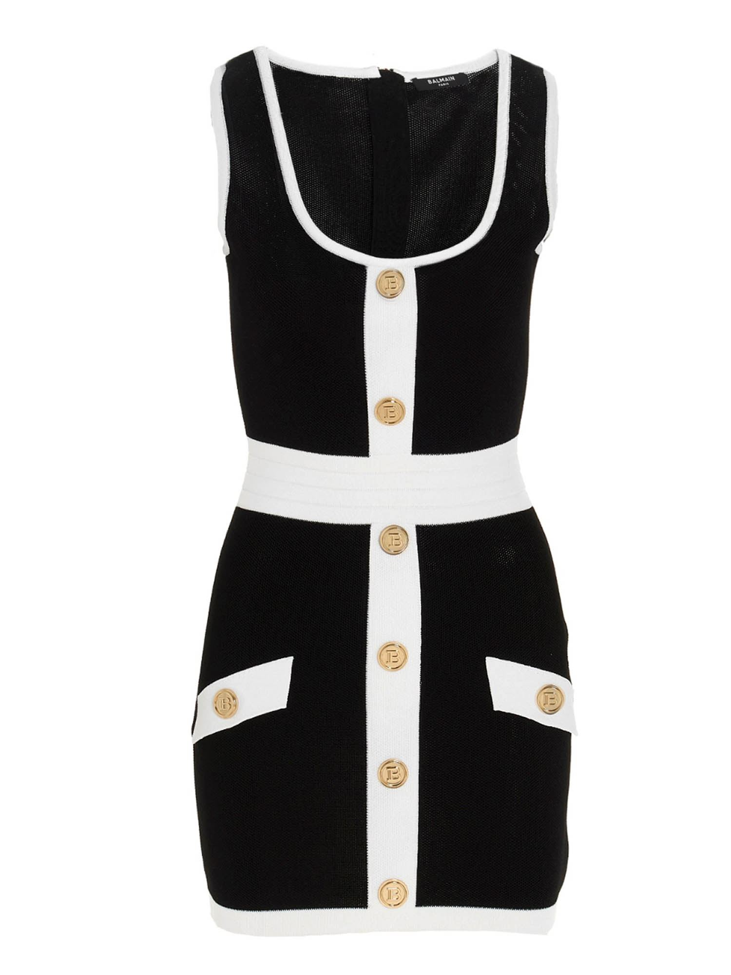 Balmain BUTTONED DRESS IN BLACK AND WHITE