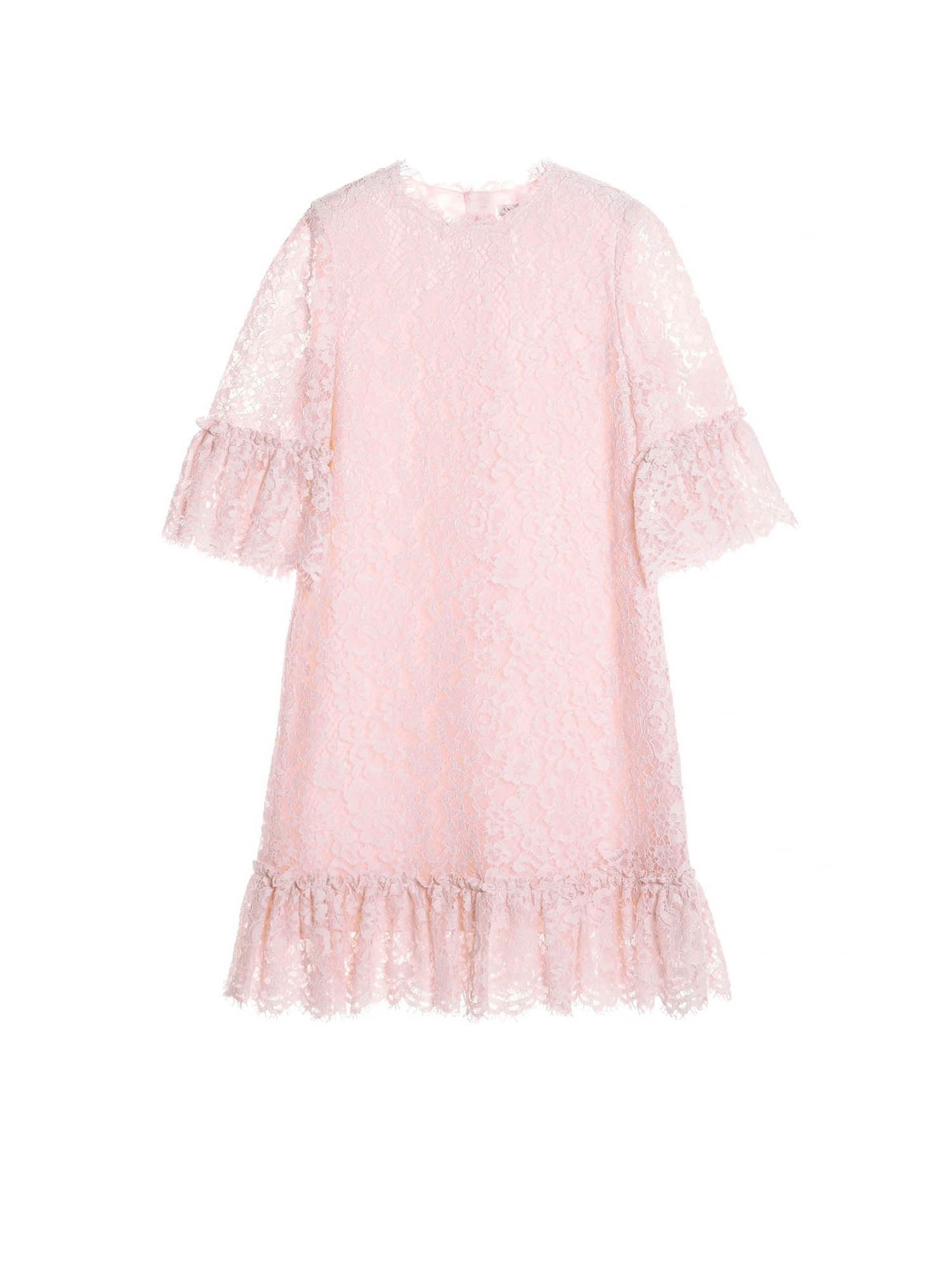 Dolce & Gabbana Jr MIDI DRESS IN LACE IN PINK