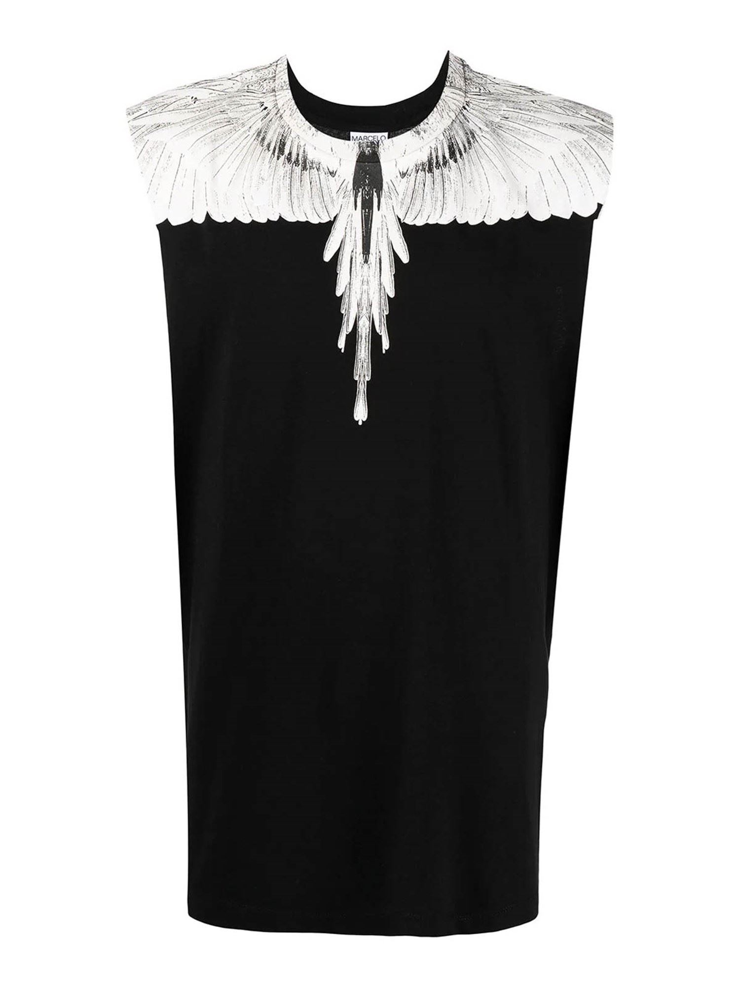 MARCELO BURLON COUNTY OF MILAN WINGS TANK TOP IN BLACK