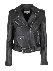 Michael Kors - Cropped leather Moto jacket in black