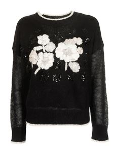 MY TWIN Twinset - Flowers embroidered sweater in black