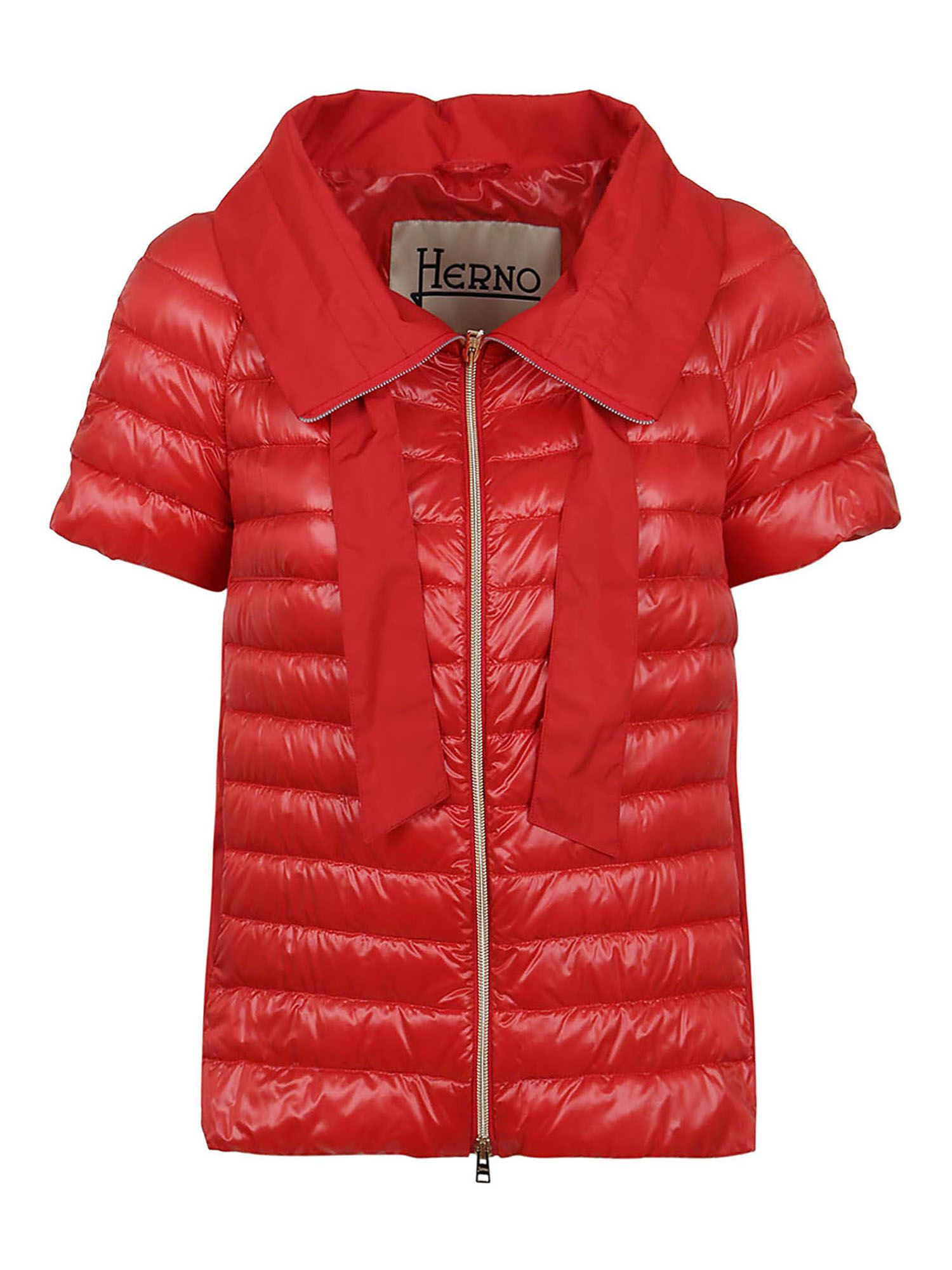 HERNO SHORT SLEEVE PUFFER JACKET IN RED