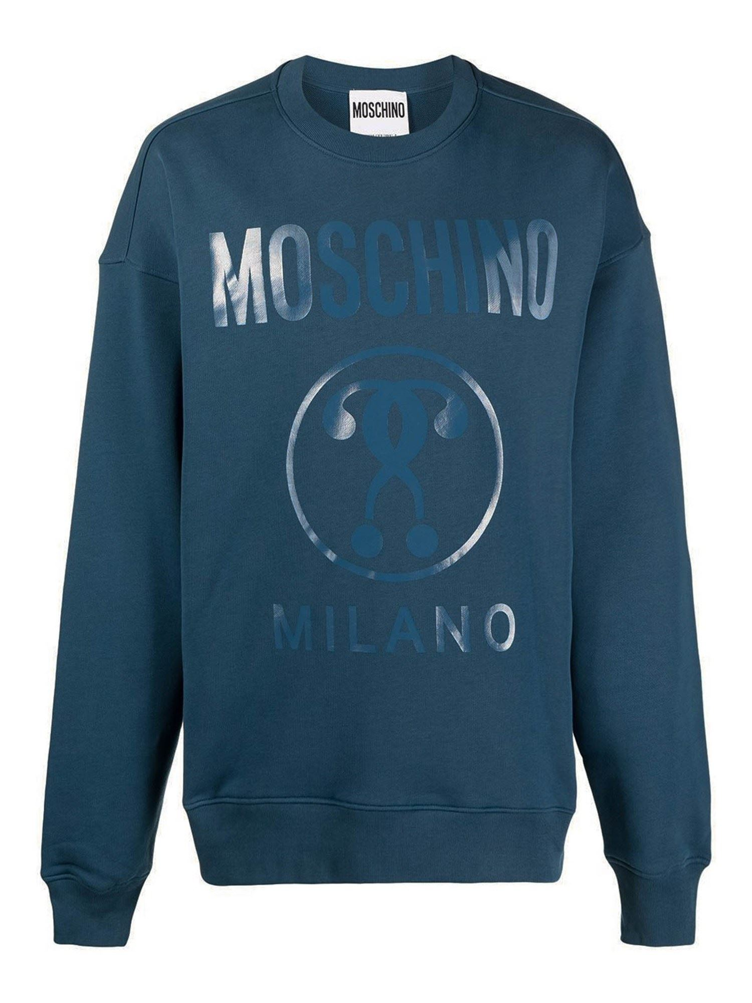 MOSCHINO DOUBLE QUESTION MARK SWEATSHIRT IN BLUE
