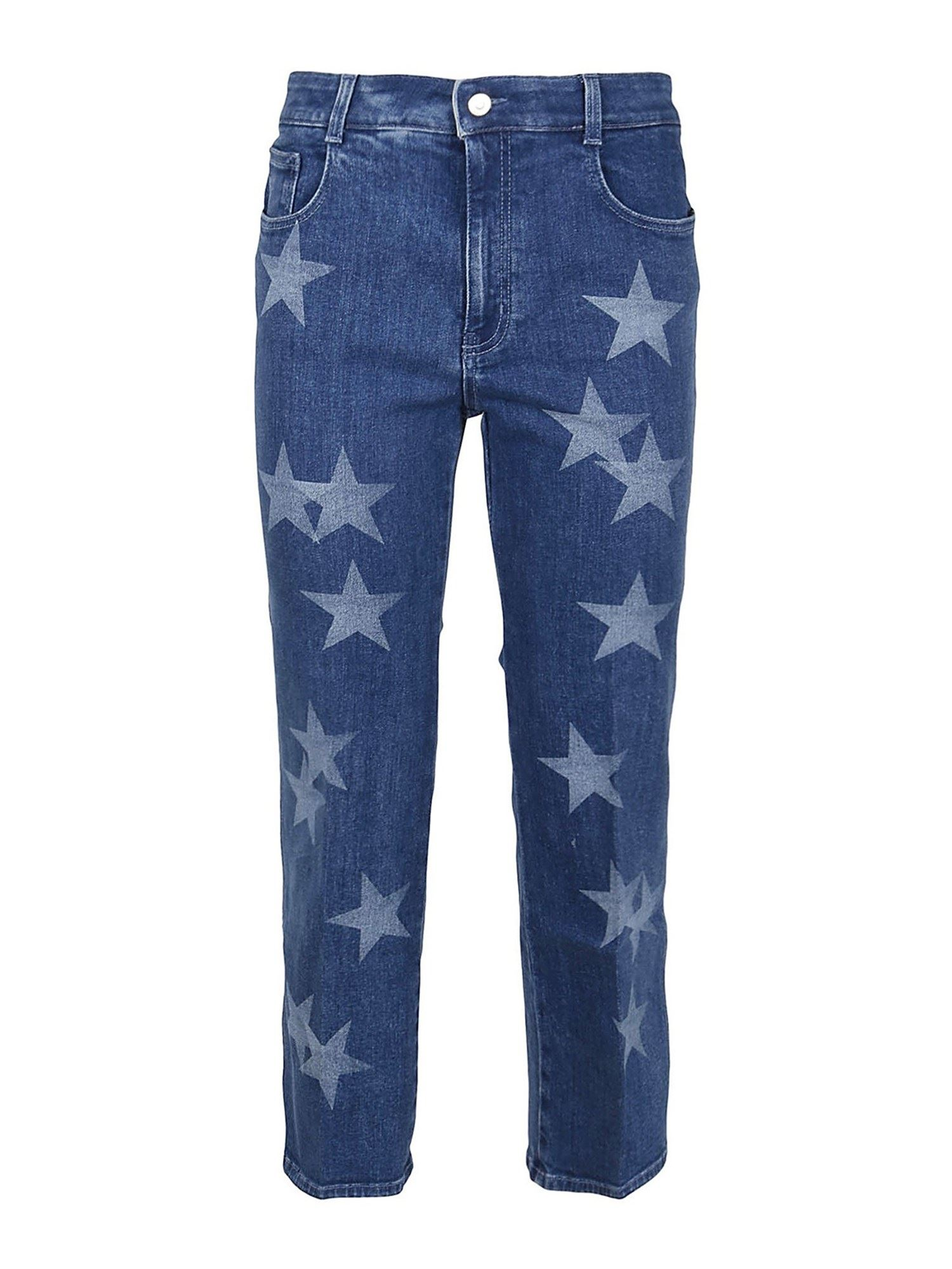 Stella Mccartney STELLA MCCARTNEY STAR PRINT STRETCH JEANS IN BLUE