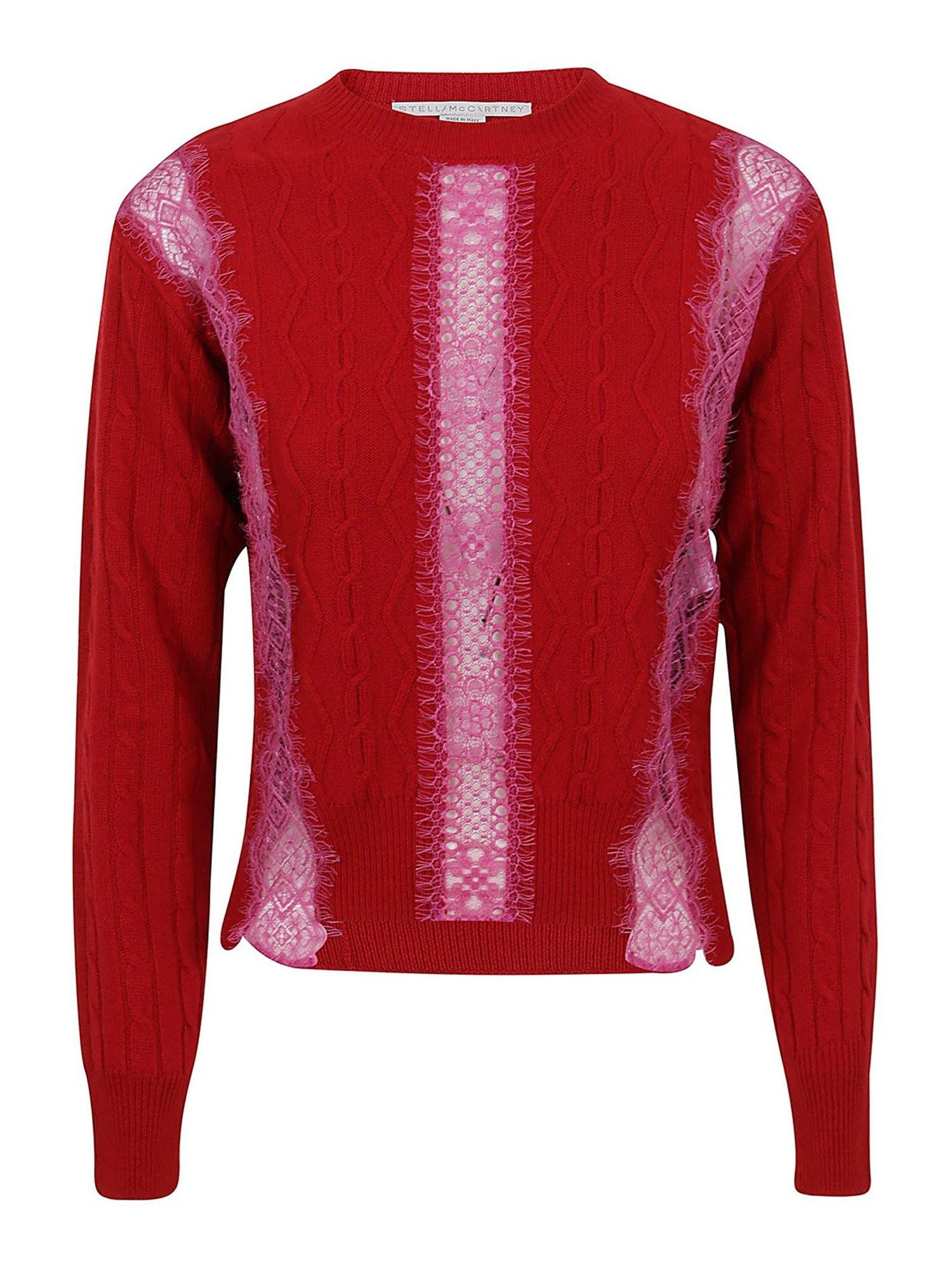 Stella Mccartney STELLA MCCARTNEY CABLE-KNIT CREW-NECK JUMPER IN RED